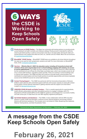 Letter from the CSDE - Keeping Schools Open Safely - 02-26-2021