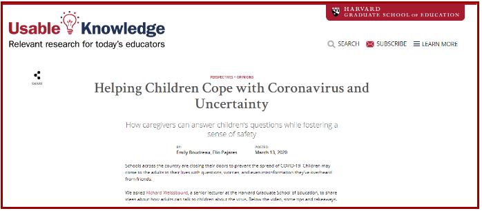 Helping Children Cope with Coronavirus and Uncertainty