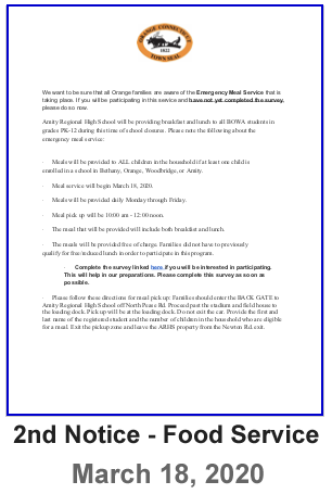 Letter to Parents - Second Notice Food Service Ltter - March 18, 2020