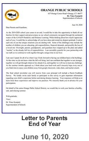 Letter to Parents - End of Year  - June 10, 2020