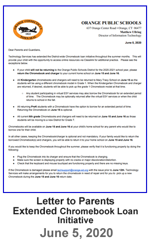 Letter to Parents - Extended Chromebook Loan Initiative - June 5, 2020