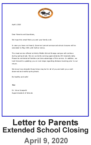 Letter to Parents - Extended School Closing  - April 9, 2020