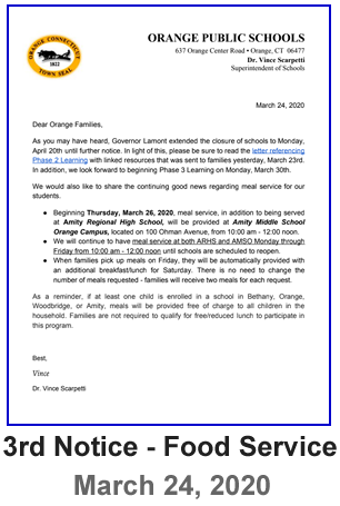Letter to Parents - 3rd Notice Food Service Letter - March 24, 2020