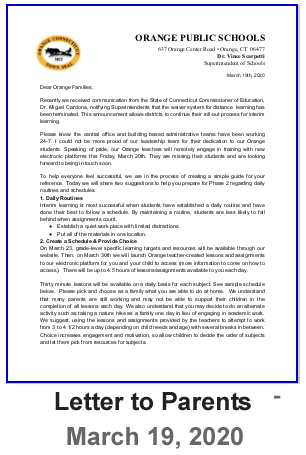 Letter to Parents - March 19, 2020