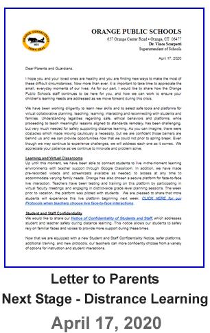 Letter to Parents - Next Stage for Distance Learning - April 17, 2020