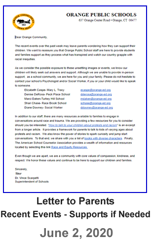 Letter to Parents - Recent Events-Supports if Needed - June 2, 2020