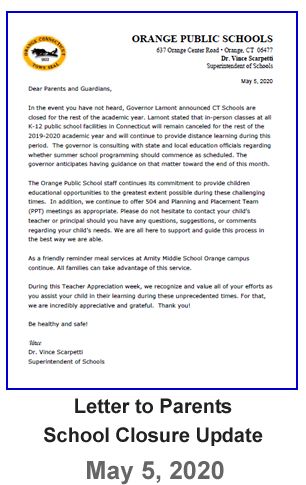 Letter to Parents - School Closure Update - May 7, 2020
