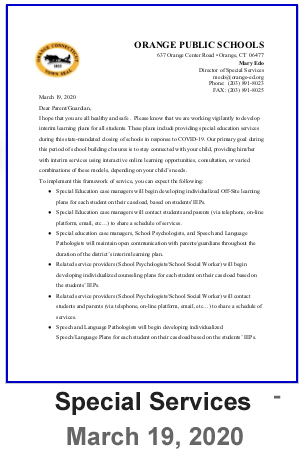 Special Services - Interim Letter - March 19, 2020