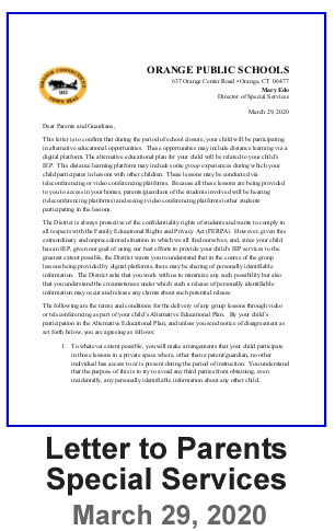Letter to Parents - Special Services  - March 29, 2020